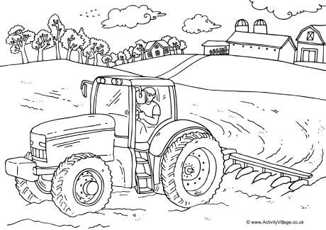 farm tractors coloring pencil coloring pages