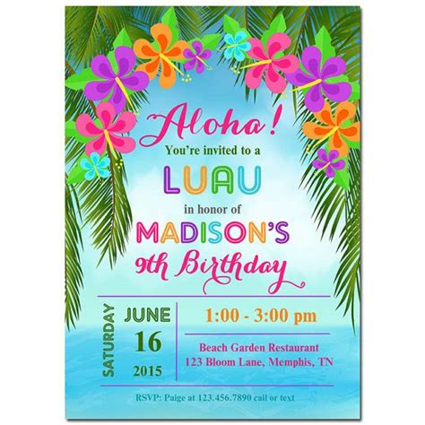 printable birthday invitations luau image gallery luau invitations