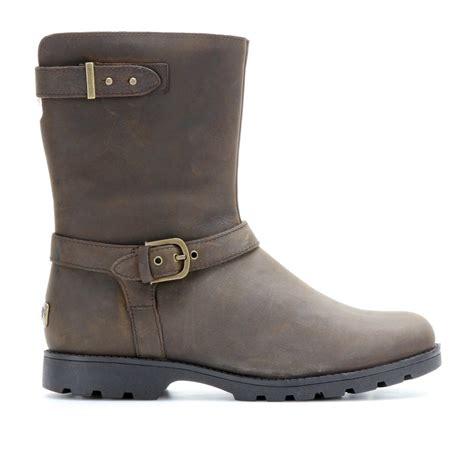 brown leather ugg boots ugg grandle leather biker boots with shearling lining in
