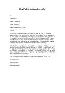 Introduction Letter New Sle Introduction Letter To Business Partner Sle Business Letter