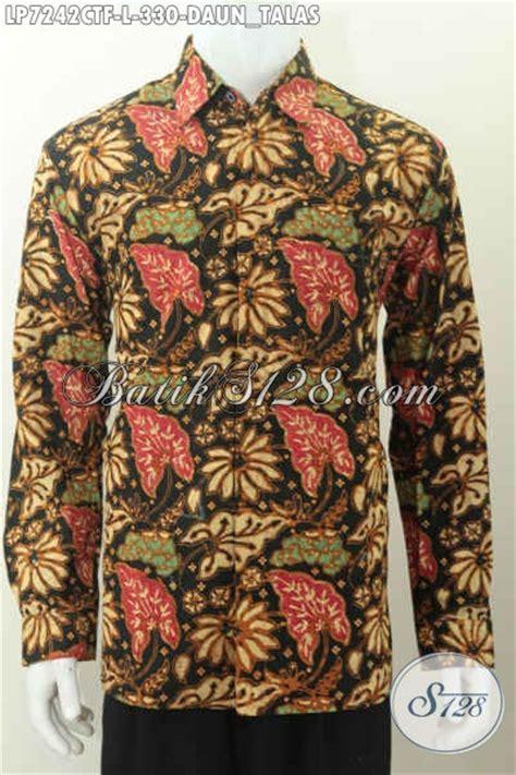 Selimut Halus Salur Cap Daun kemeja lengan panjang elegan motif daun talas baju batik modern halus proses cap tulis untuk