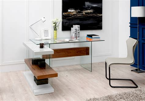 Office Furniture Desks Modern Glass Desk In White And Walnut With A Shelving Unit New York New York Vig Sven