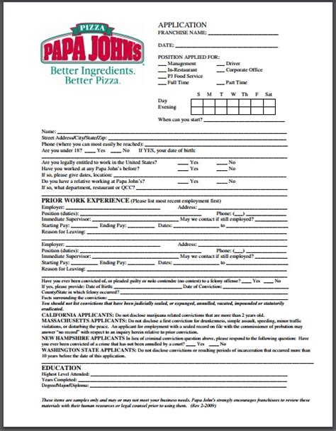 printable job application for jimmy johns papa john s application pdf download print out 2018