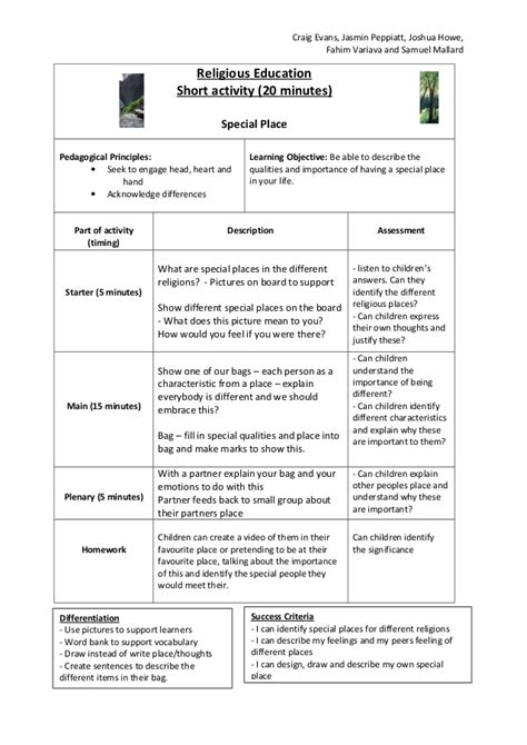 lesson plan template religious education religious education lecture 4 lesson plan