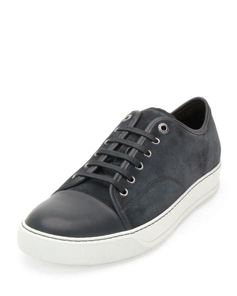lanvin sneakers lanvin suede low top sneakers in gray for lyst