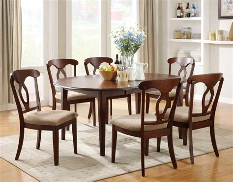 Liam Cherry Finish 7 Piece Space Saver Dining Room Set Oval Dining Room Table Sets