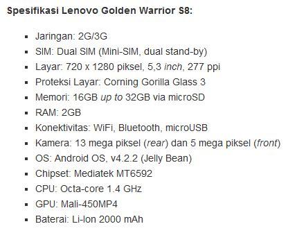 Hp Lenovo Golden Warrior Di Indonesia smartphone terbaru lenovo golden warrior s8 harga dibawah