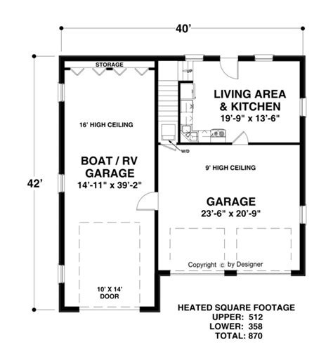1 5 car garage plans boat rv garage 3068 1 bedroom and 1 5 baths the house designers