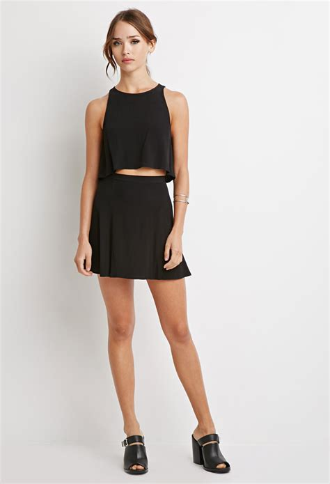 lyst forever 21 crepe crop top and skirt set in black