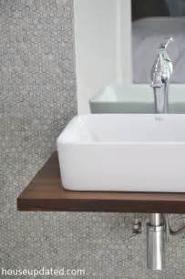 floating bathroom sink diy walnut floating shelf sink vanity house updated