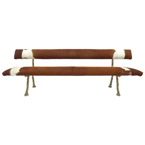 cowhide bench faux bois cast bronze and cowhide bench at 1stdibs