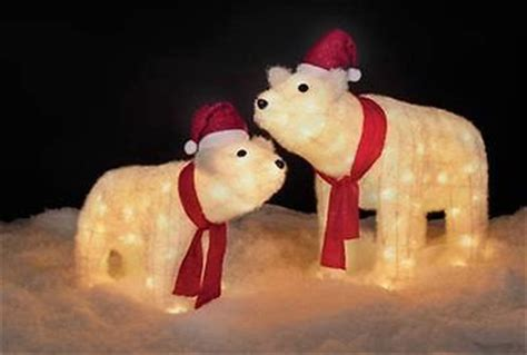 Outdoor Christmas Inflatable Yard Decorations by Icy Tinsel Lighted Mother Amp Cub Polar Bears W Red Bows