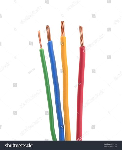 four electrical wire or cable color green blue yellow