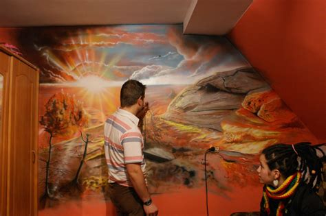 Waterfall Wall Mural airbrush painting landscape www imgkid com the image
