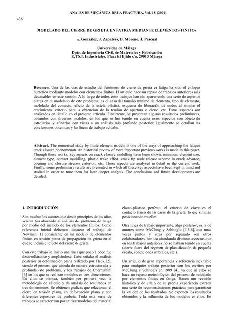 (PDF) MODELADO DEL CIERRE DE GRIETA EN FATIGA MEDIANTE