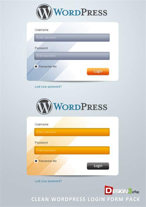 wordpress login layout clean wordpress login form pack design3edge com