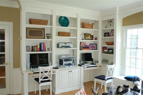 We Could Do 2 Work Stations Wall Of Bookshelves And Desk Built In Desks And Bookshelves