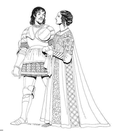 Renaissance Dress Coloring Page | renaissance clothing patterns 183 history coloring page