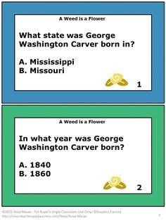 george washington biography with questions a weed is a flower comprehension task cards and worksheet