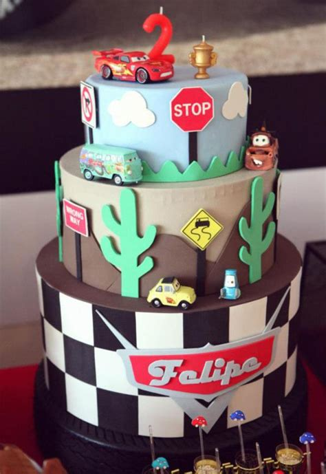 Car Themed 2nd Birthday Ideas Cars Cake Theme Pictures