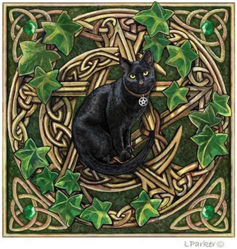 wiccan pentacle amp black cat greeting card by lisa parker