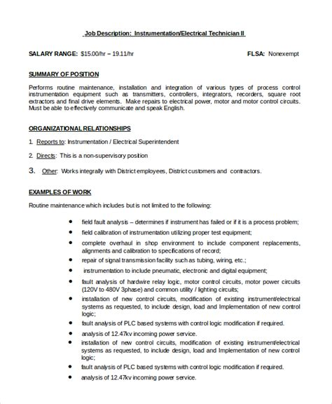 sle electrical engineer job description 10 exles