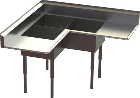 corner 3 compartment sink sink corner 3 compartment step iges 3d cad model