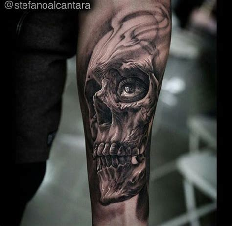 skull tattoos on forearm realistic pistol and bullets weapons by stefano
