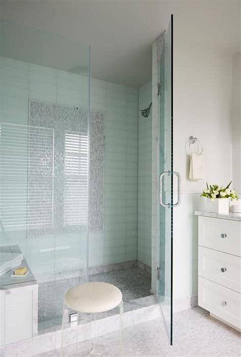 blue ombre ceramic shower tiles transitional bathroom