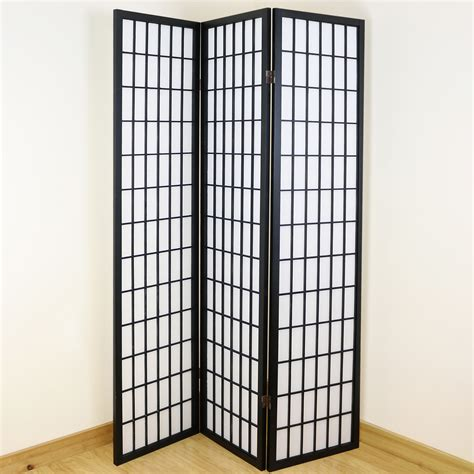 Japanese Room Divider Black White 3 Panel Shoji Folding Privacy Screen Japanese Wooden Room Divider Ebay