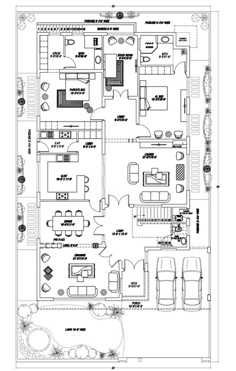 architect home design floor plan layout pk 1 kanal house at dha phase 7 lahore by core consultant