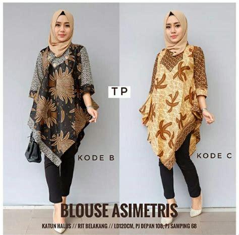 jual tunik batik dress batik asimetris blouse