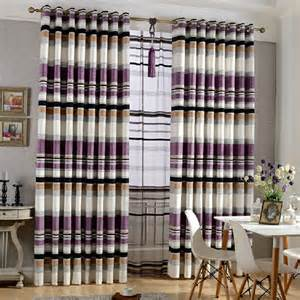 Yellow Grey Curtains Simple Designed Purple Striped Modern Curtains For Boys