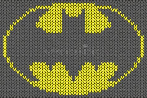 knitting pattern batman logo batman logo knitted ornament vector illustration stock
