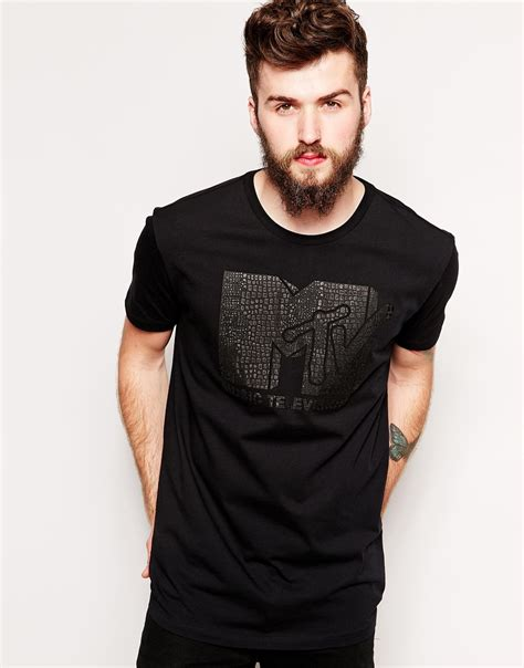 Tshirt Longline Leather Oveersized asos longline t shirt with leather look croc mtv print and skater fit in black for lyst