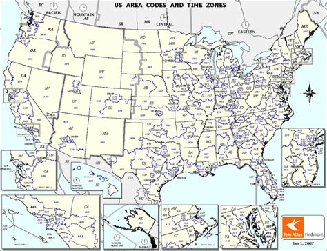 area code map usa time zones squantos