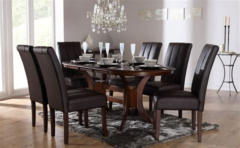 townhouse oval extending wood dining townhouse oval wood extending dining table and 6 chairs set carrick brown