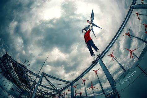 wallpaper anime boy windmill landscape worm view sky