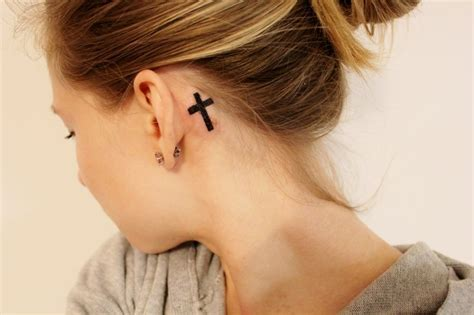 small cross tattoo behind ear 17 the ear cross tattoos