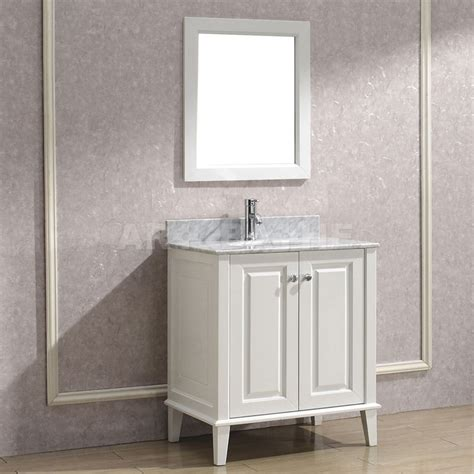White Vanity by Bathe 30 White Bathroom Vanity Solid Hardwood
