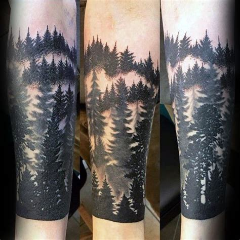 pinterest tattoo forest black ink male forest sleeve tattoo ideas forearm