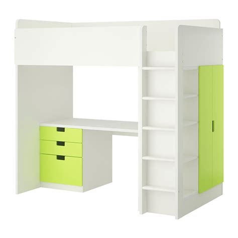 Green Bunk Beds Stuva Loft Bed With 3 Drawers 2 Doors White Green Ikea