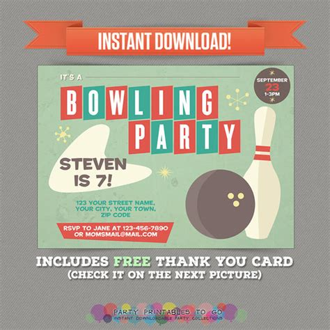 printable birthday cards bowling vintage bowling birthday party printable invitation with free