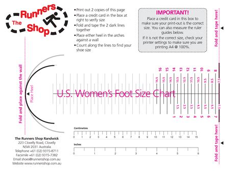 printable foot size chart women women s foot size chart