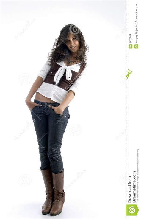 full body pose  smart young female stock  image