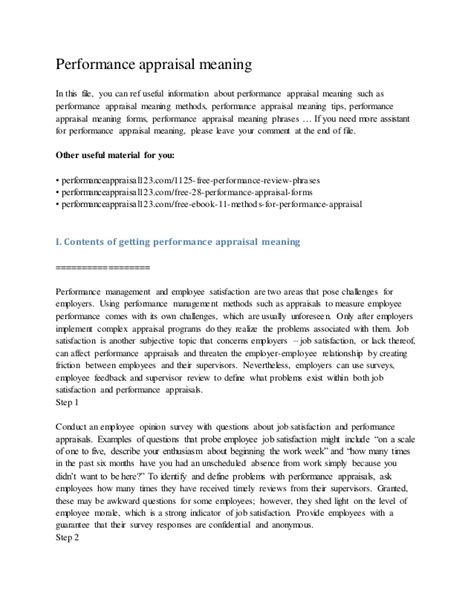 Appraisal Letter Definition Performance Appraisal Meaning