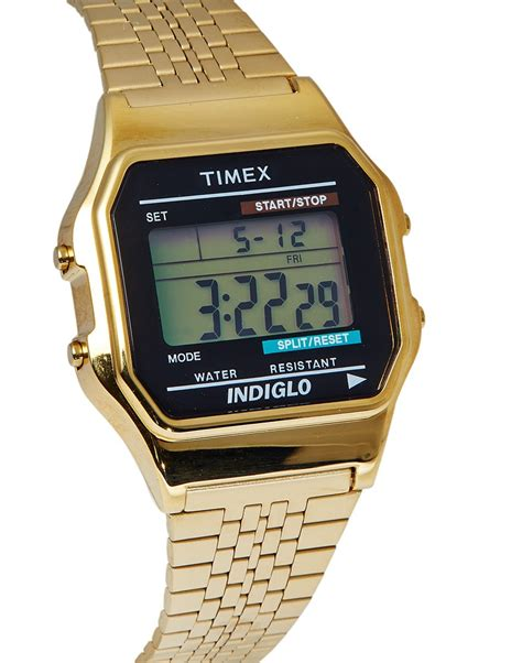 timex classic digital goldtone bracelet in metallic