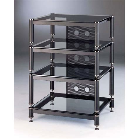 vti rack view a larger image of the vti blg series audio video rack black poles with clear glass blg404bw