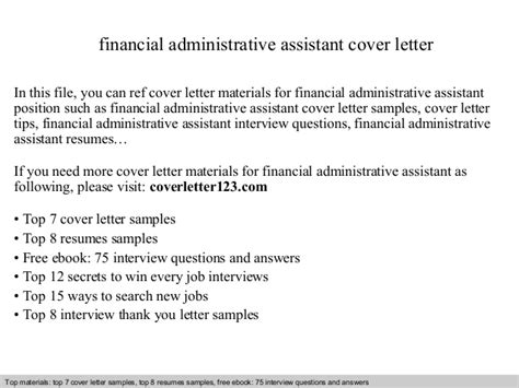 financial assistant cover letter financial administrative assistant cover letter