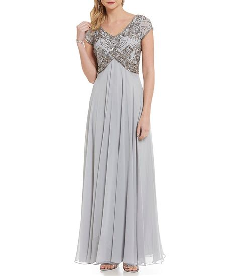 jkara v neck floral beaded chiffon gown dillards